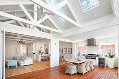 Inspiration ~ We love the look of the exposed trusses & think the skylights are perfectly placed. Well done Phil & Amity your home is… Die Hamptons, Hamptons Style Homes, Estilo Hampton, Beach House Style, Cottage Shabby Chic, Architecture Renovation, Exposed Trusses, Modern Country Style, Custom Built Homes