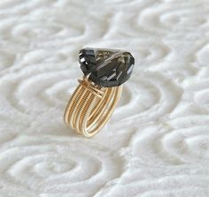 Black diamond Swarovski ring, Statement ring ,Personalized Womens Jewelry, Gold filld ring, wide ring, cocktail ring, spiral ring by tamarmany on Etsy