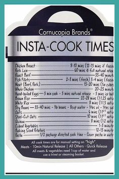 Cooking Times – Free Cheat Sheets & Instant Pot Charts for August 2019 Instapot recipes and insta pot recipes for your instant pot pressure cooker. Pressure cooker recipes and cooking times for all instant pot recipes easy pressure cooker times chart and Pressure Cooker Times, Instant Pot Pressure Cooker, Pressure Cooking, Pressure Cooker Recipes Beef, Slow Cooker, Pressure Cooker Pork Chops, Pressure Cooker Sweet Potatoes, Power Cooker Recipes, Instant Cooker