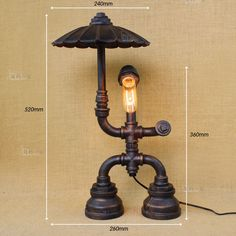 Industrial Machine Age Pipe Steampunk Robot Antqiue Table / Desk Lamp Light #JVIndustrialLighting #Industrialage