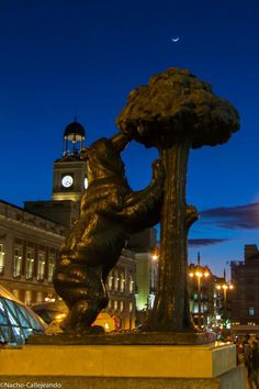 Bear and the Madroño Tree sculpture at Puerta del Sol Madrid Spain