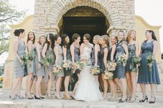 bridesmaids in #gray | Photography by carolinejoy.com | Floral Design by petalpushers.us |    Read more - http://www.stylemepretty.com/2013/06/27/austin-wedding-from-caroline-joy-photography-2/