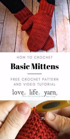 Basic Mittens - Free Crochet Pattern with Video Tutorial This pattern is so easy! The video tutorial will walk you through every step. Many beginners have made their first pair of mittens using this pattern. Crochet Mittens Free Pattern, Crochet Motifs, Knitting Patterns Free, Free Knitting, Knit Crochet, Free Crochet Slipper Patterns, Free Crochet Patterns For Beginners, Diy Crochet Scarf, Easy Crochet Socks