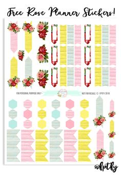 Free Rose Planner Stickers - Free Pretty Things For You