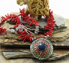 Ethnic Statement Coral Necklace Boho Chic Tibetan Pendant, pewter beads, vintage style and inspired, bold chunky necklace, vintage pendant