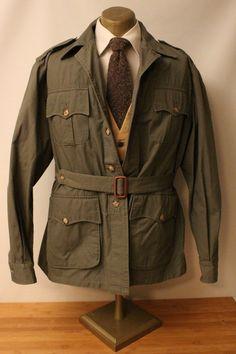 Vtg Willis & Geiger Bush Poplin Spring Weight Safari Jacket 46