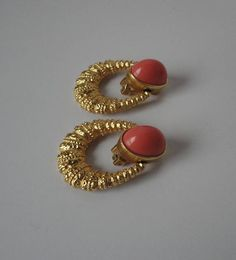 Your place to buy and sell all things handmade Gold Bar Earrings, Gold Earrings Designs, Gold Jewellery Design, Baby Earrings, Coral Earrings, Antique Jewellery, Diamond Earrings, Gold Necklace, Garnet Jewelry