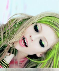 Avril Lavigne. i loved this shot. Would love to do colorful hair and bright makeup for a photoshoot!