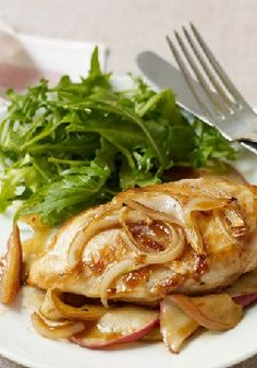 Maple-Baked Apple Chicken – Chicken breasts get a sweet and savory kick from apples, maple syrup and onions in this simple comfort food dish.