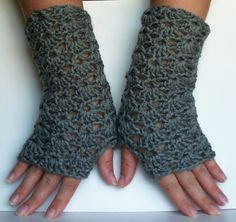 Lace Fingerless Gloves Stone Gray  - for work.  My hands are always frozen