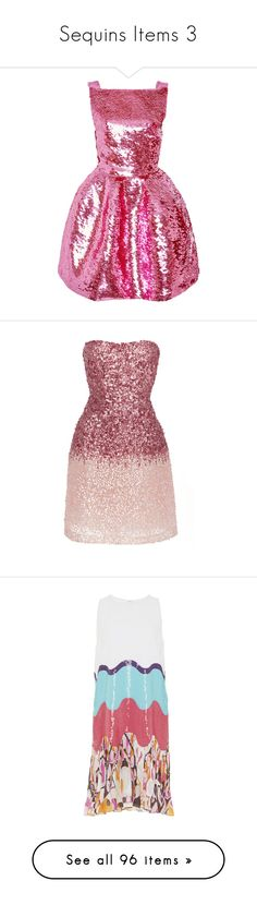 """""""Sequins Items 3"""" by jckyleeah ❤ liked on Polyvore featuring Sequin, dresses, pink, sequined dresses, boat neck dresses, fitted tops, short skirts, pink mini skirt, sequin mini dress and strapless sequin dress"""