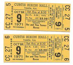 Ike & Tina Turner Concert Ticket Tina Turner Concert, Ike And Tina Turner, Piece Of Music, Concert Tickets, Better One, The Fool, Hard Rock, Rock Bands, Amp