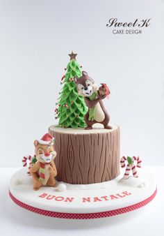 Chip and Dale Christmas Cake by Karla (Sweet K)