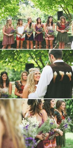"""I liked this wedding at first because of the brides beautiful homemade dress. But then I realized her """"gypsy style"""" inspired her to come up with a """"native American Indian"""" (her words, not mine) theme for her wedding. How can someone's culture be a wedding theme?! Cultural appropriation, that's how. Good job."""