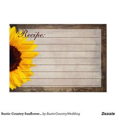 Rustic Country Sunflower Recipe Cards SOLD on Zazzle