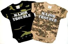 Major Trouble Baby Camo Onezie