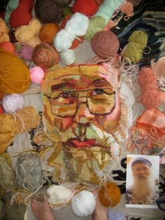 This artist uses crochet to craft some amazing portraits.Crochet portrait in progress by Jo Hamilton, via Textile Design and Designer`s Platform Knit Art, Crochet Art, Crochet Home, Love Crochet, Crochet Doilies, Crochet Patterns, Woven Image, Portrait Embroidery, Picture Letters