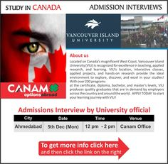 Study in Canada - Vancouver Island University. For complete information & enrolment, Register Today!  #StudyAbroad #StudyinCanada #VancouverIslandUniversity #StudentVisaExperts #CanamConsultants