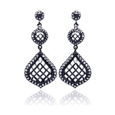 Sterling Silver .925 Black Rhodium Plated With Clear CZ Dangle Earrings