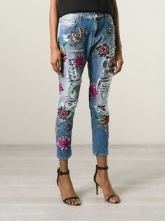 Marco Bologna embroidered distressed jeans