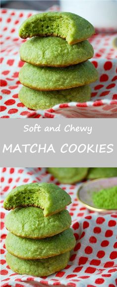 Matcha cookies have the delicate flavor and color of green tea. These soft, pillowy and chewy green tea cookies are perfect with tea. Matcha Cookies - Matcha Cookies - these green tea cookies are soft, pillowy and perfect with tea! Matcha Cookies, Almond Cookies, Chocolate Cookies, Cookies Soft, Baking Cookies, Green Tea Dessert, Matcha Dessert, Green Tea Recipes, Sweet Recipes
