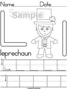 Letter L is for Leprechaun lesson & printable activities, in standard block print (ZB) & (DN).