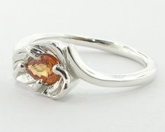 Golden Sapphire Leaf Ring Sterling Silver by wexfordjewelers, $312.00