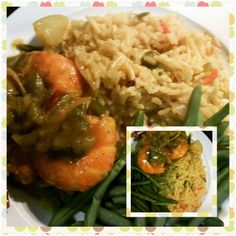 Curry shrimp yellow rice string beans