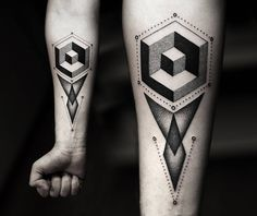 3d geometric shapes tattoo by kamil czapiga