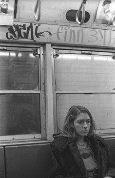 A young Kim Gordon on the NYC subway, 1970s