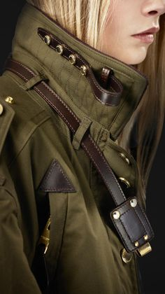 Burberry Prorsum Waxed Cotton Bomber Jacket in Green (kale)