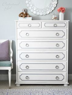 Tutorial on how to take an unfinished pine dresser to Dorothy Draper inspired fabulousness. painted white dresser with gray overlays- Little Green Notebook.