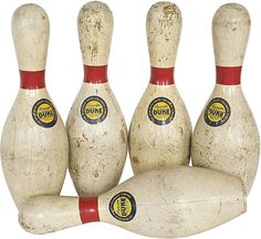 Large Vintage Bowling Pins I, Set of 5 | Vintage, Antique