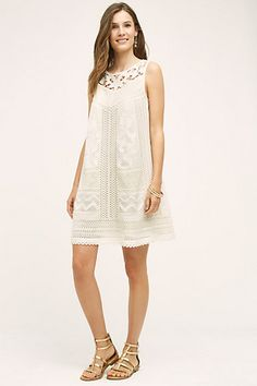 Anthropologie EU Cottonwood Lace Swing Dress, Ivory