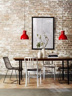 Red pendant lamp that pop out.