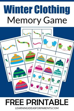A free printable easy winter clothing memory game for kids. It includes 18 pictures of winter clothes in various colors and patterns. There are two different sizes to choose from. Weather Activities Preschool, Printable Board Games, Memory Games For Kids, Winter Outfits, Winter Clothes, Winter Pictures, Matching Games, Winter Theme, Free Games