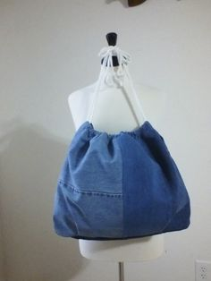 Blue Denim Lined Drawstring Tote Bag by UpInSeams on Etsy