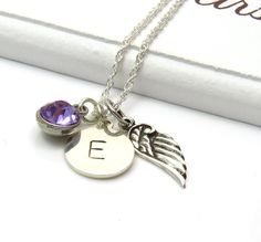 Personalized Birthstone Ametyst & Silver Wing Necklace, Silver Angel Wing Necklace with Initial Tag,Angel Wing Jewelry,Guardian Angel by MistyMornDesigns on Etsy