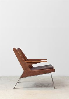 Carlos Motta, Guará Armchair, 2015, iron and peroba rosa wood. sold by espasso.com