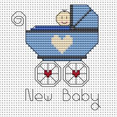 New Baby Boy cross stitch card kit by Fat Cat Cross Stitch.  Design 8.5cm x 7.9cm 14 count white Aida The kit contains fabric, strandedAnchor embroidery threads, needle, easy to follow instructions andchart, card and envelope.  A brand new kit will be sent directly to you by Fat Cat Cross Stitch - usually within 2-4 working days © Fat Cat Cross Stitch