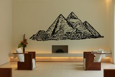 Wall Vinyl Sticker Decals Mural Room Design Pattern Art Bedroom Pyramids Egypt Architecture Culture Art  bo2448 by RoomDecalsAndDesigns on Etsy