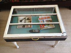 Shadow box coffee table. Made from old windowpane.