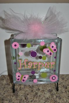 Glass block baby lamp. Or decorate to go in any room!