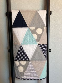 Modern Baby Quilt - grey, aqua, white and navy triangles on Etsy, $105.00