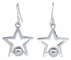Open Star with Beads Ball Dangle Sterling Silver Earrings for Women [ISE0095] #BKGjewelry #DropDangle