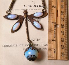 Deco Dragonfly Necklace with Vintage Glass Opals (kneehighsnpigtails on Etsy)