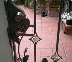 Custom Gate close up with glass accents. by Brent's Metal Art