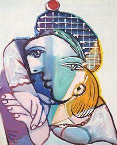 """Portrait de Femme au Veret Escossais by Pablo Picasso, 1937. Lithograph, 29 x 22"""" (74 x 56 cm)"""