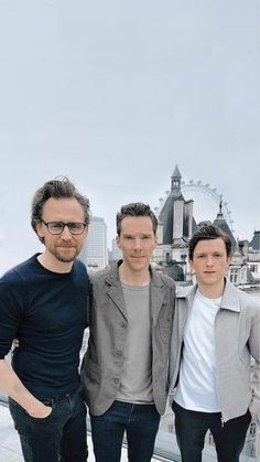 Tom Hiddleston, Benedict Cumberbatch and Tom Holland.