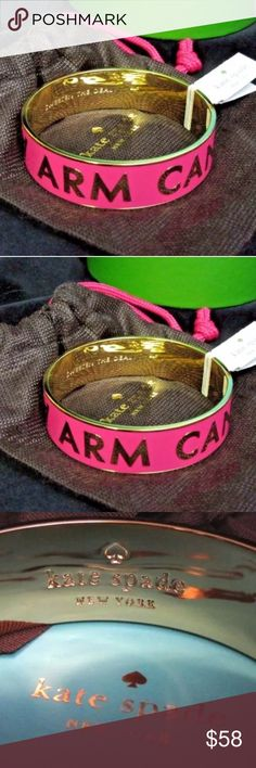 "NWT Kate Spade Idiom Bracelet - Great a gift! NWT Kate Spade Idiom Bracelet - Great a gift!  Idiom Engraved inside is ""Sweeten the Deal"" ile the outside is Arm Candy! Makes a great gift because the $88 price tag and the Kate Spade tags are attached and it comes with a free Gift Box! kate spade Jewelry Bracelets"